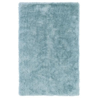 Hand-Tufted Silky Shag Light Blue Rug (5' x 7')