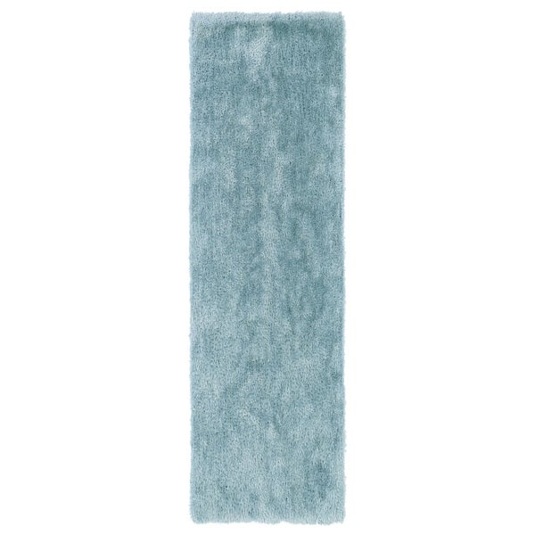 "Hand-Tufted Silky Shag Light Blue Rug (2'3 x 8') - 2'3"" x 8'"
