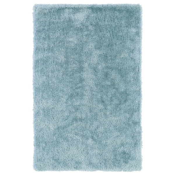 Hand-Tufted Silky Shag Light Blue Rug - 8' x 10'