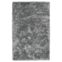 Hand-Tufted Silky Shag Silver Rug (8' x 10') - 8' x 10'