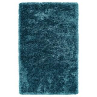 Hand-Tufted Silky Shag Teal Rug (5' x 7') - 5' x 7'