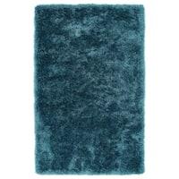Hand-Tufted Silky Shag Teal Rug (8' x 10') - 8' x 10'