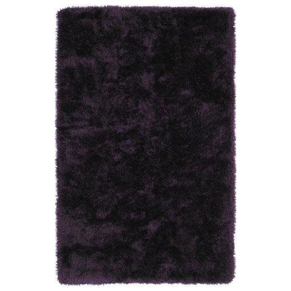 Hand-Tufted Silky Shag Purple Rug (2' x 3') - 2' x 3'