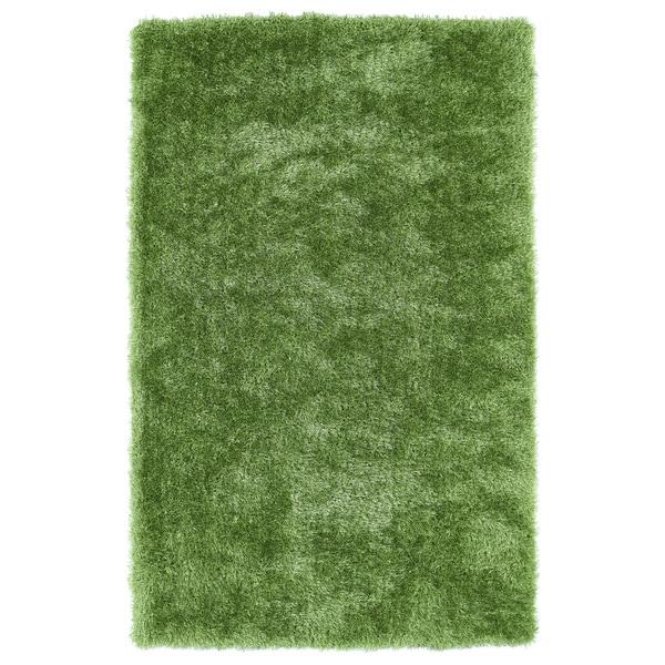Hand-Tufted Silky Shag Lime Green Rug (3' x 5') - 3' x 5'