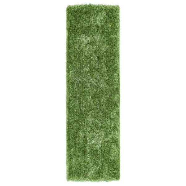 Hand-Tufted Silky Shag Lime Green Rug (2'3 x 8')