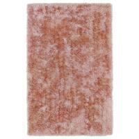 Hand-Tufted Silky Shag Salmon Rug (2' x 3')
