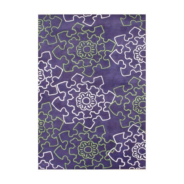 Handmade Alliyah Purple Blended Wool Rug (8x10)