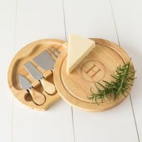 Personalized Rubberwood 5-piece Gourmet Cheese Board Set
