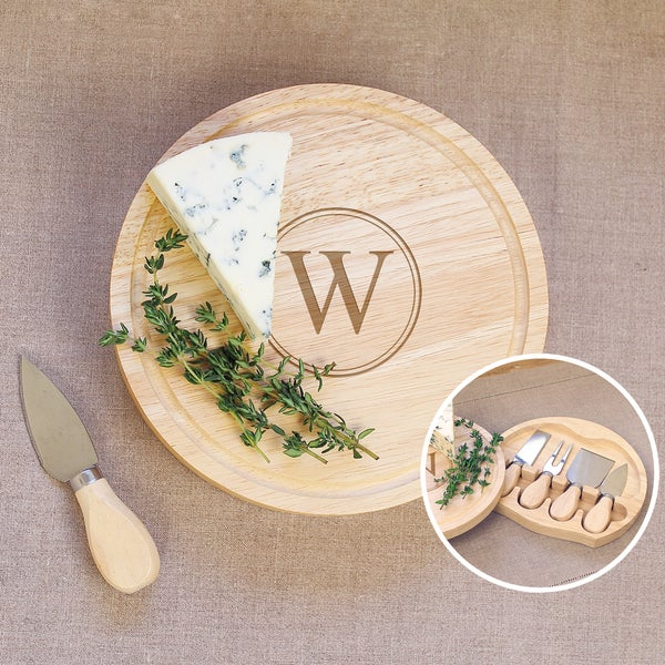 personalized rubberwood 5 gourmet cheese board set free