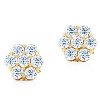 Blue Box Jewels Goldplated Sterling Silver Cubic Zirconia Cluster Stud Earrings