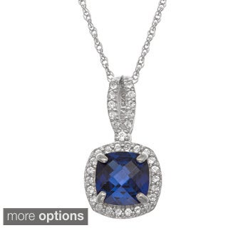 Gioelli Sterling Silver Created Gemstone and White Sapphire Accent Halo Pendant