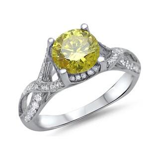 Noori 18k White Gold 1 1/6ct TDW Round-cut Yellow Diamond Engagement Ring