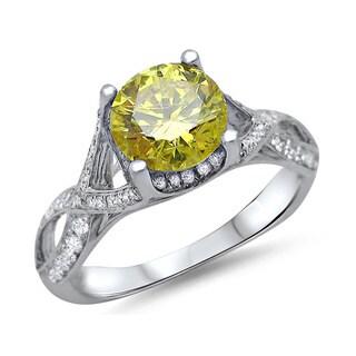 Noori 18k White Gold 1 1/2ct TDW Round Canary Yellow Diamond Engagement Ring (F-G, SI1-SI2)