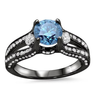 14k Black Gold 1 1 2ct TDW Blue Round Diamond Ring