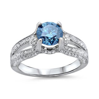 Noori 14k White Gold 1 1/2ct TDW Blue Round Diamond 3-stone Engagement Ring (F-G, SI1-SI2)