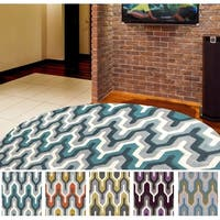 Hand-tufted Geometric Contemporary Round Area Rug - 8'