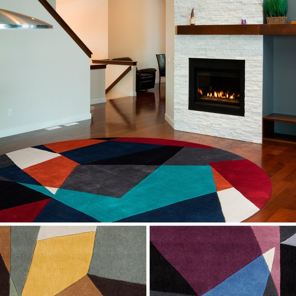 Hand Tufted Abstract Geometric Contemporary Round Area Rug (8u0026#x27; ...