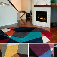 Hand-tufted Abstract Geometric Contemporary Round Area Rug - 8' x 8'