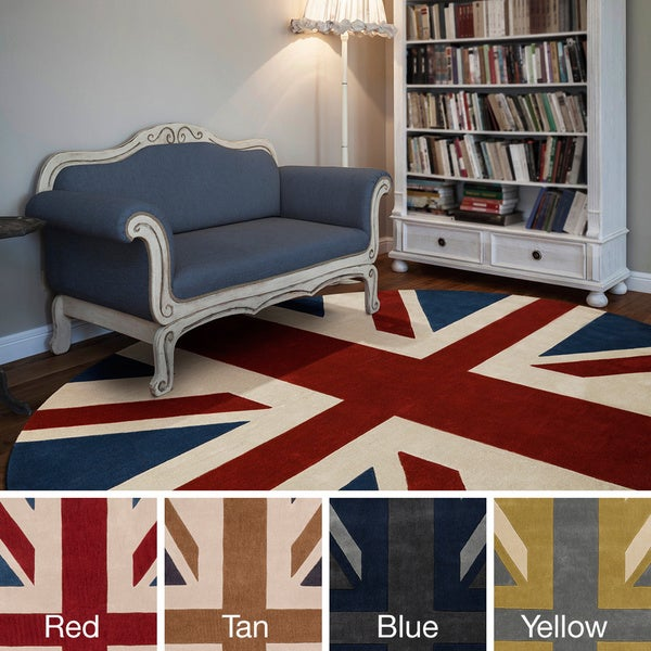 Hand Tufted Union Jack Novelty Contemporary Round Area Rug (8u0026#x27; ...