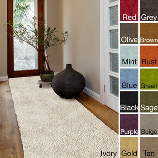 Hand-woven Kylie New Zealand Felted Wool Shag Area Rug (4' x 10')