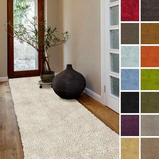 "Hand Woven Madison New Zealand Felted Wool Shag Area Rug (2'6"" x 8')"