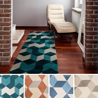 Hand-tufted Beecher Contemporary Geometric Runner Rug (2'6 x 8')