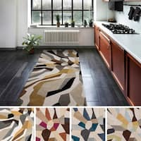 "Hand-tufted Barnes Contemporary Abstract Runner Area Rug - 2'6"" x 8'"