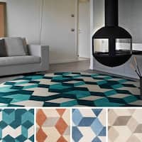 Hand-tufted Beecher Contemporary Geometric Round Area Rug