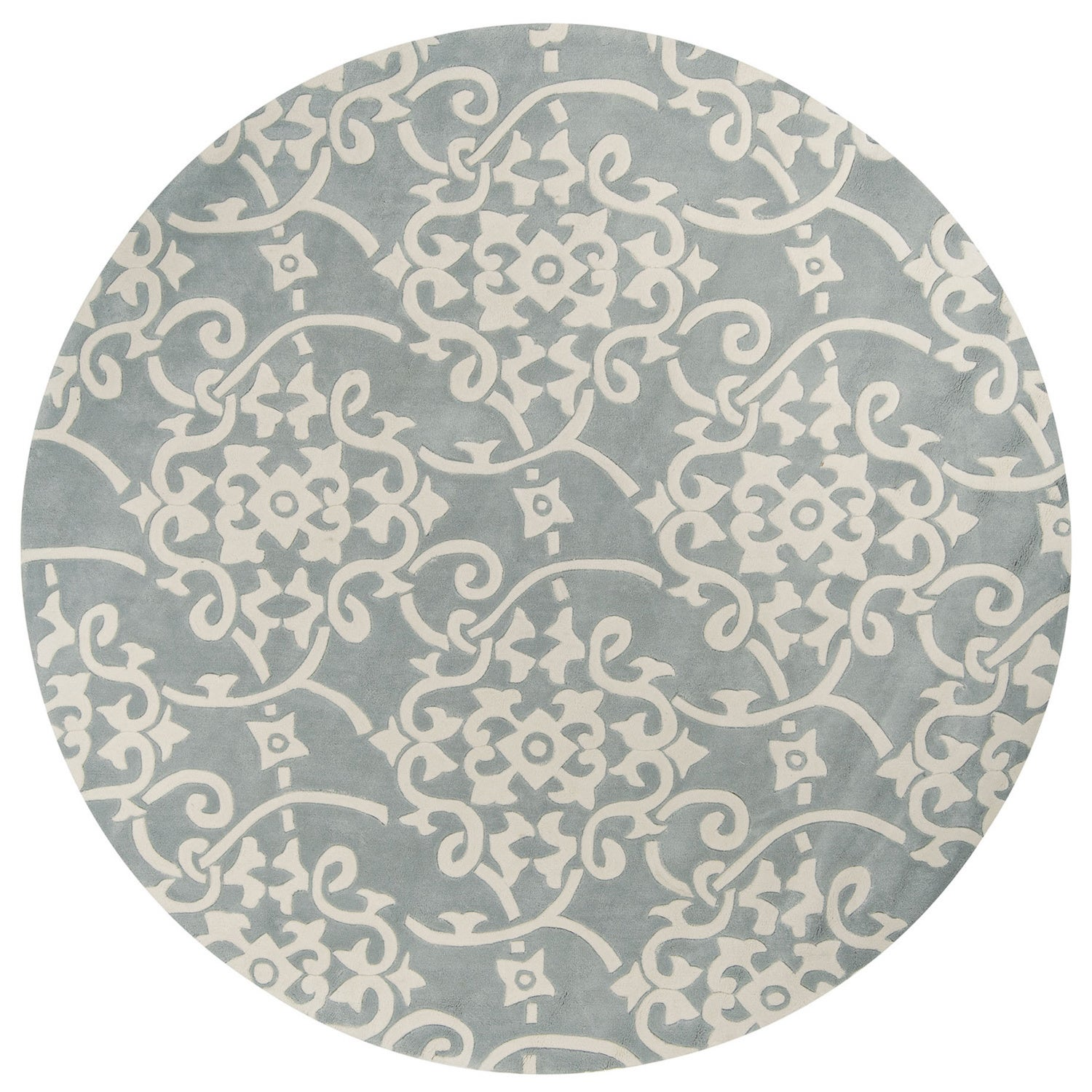 Hand Tufted Floral Contemporary Round Area Rug