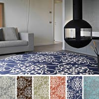 Hand-Tufted Floral Contemporary Round Area Rug
