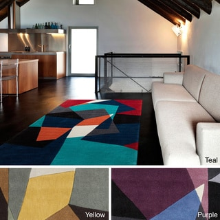 Hand-tufted Abstract Geometric Contemporary Area Rug (3'6 x 5'6)