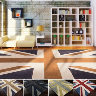 Hand-tufted Union Jack Novelty Contemporary Area Rug (3'6 x 5'6)