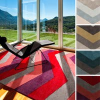 Hand-tufted Chevron Geometric Contemporary Accent Area Rug - 2' x 3'