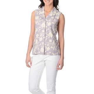 La Cera Women's Lavender Rose Print Button-front Top