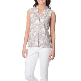 La Cera Women's Lavender Rose Print Button-front Top|https://ak1.ostkcdn.com/images/products/9051185/La-Cera-Womens-Lavender-Rose-Print-Button-front-Top-P16247567.jpg?impolicy=medium