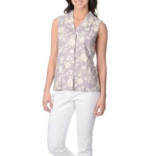 La Cera Women's Lavender Rose Print Button-front Top (4 options available)