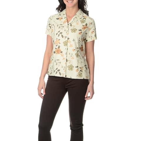 La Cera Women's Floral Print Silk Button-front Top