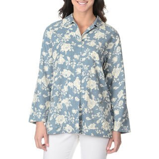 La Cera Women's Long Sleeve Rose Print Button-front Top