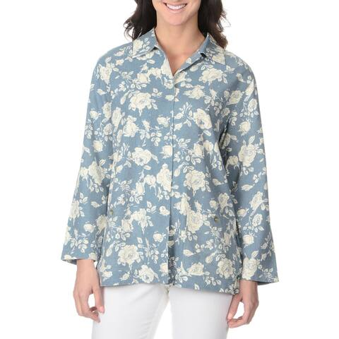 La Cera Women's Long Sleeve Rose Print Button-front Top