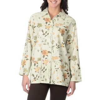 La Cera Women's Ivory Floral Print Silk Button-front Top