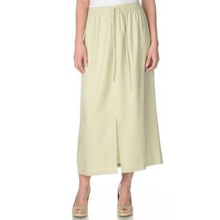 La Cera Women's Sage Silk Maxi Skirt