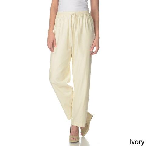 La Cera Women's Silk Wide-leg Pants