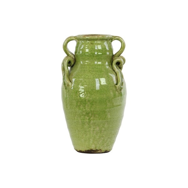 UTC76042: Ceramic Round Bellied Tuscan Vase with 2 Curved Handles Craquelure Gloss Finish Yellow Green