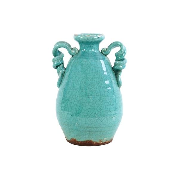 UTC76044: Ceramic Round Bellied Tuscan Vase with 2 Looped Handles Craquelure Distressed Gloss Finish Marine Blue