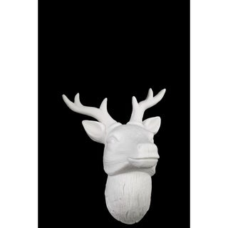 Porcelain Deer Head Wall Decor White