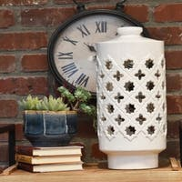 UTC40072: Ceramic Round Lantern with Cutout Quatrefoil and Star Design and Lid Gloss Finish White