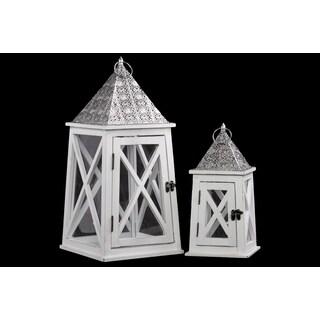 Wooden Lantern White
