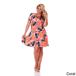 White Mark Women's Plus Size Floral Print Fit-and-Flare Dress