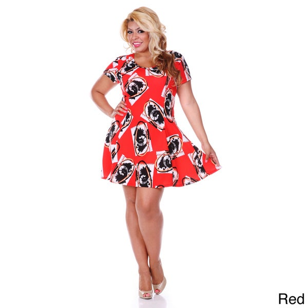 Shop White Mark Womens Plus Size Floral Print Fit And Flare Dress