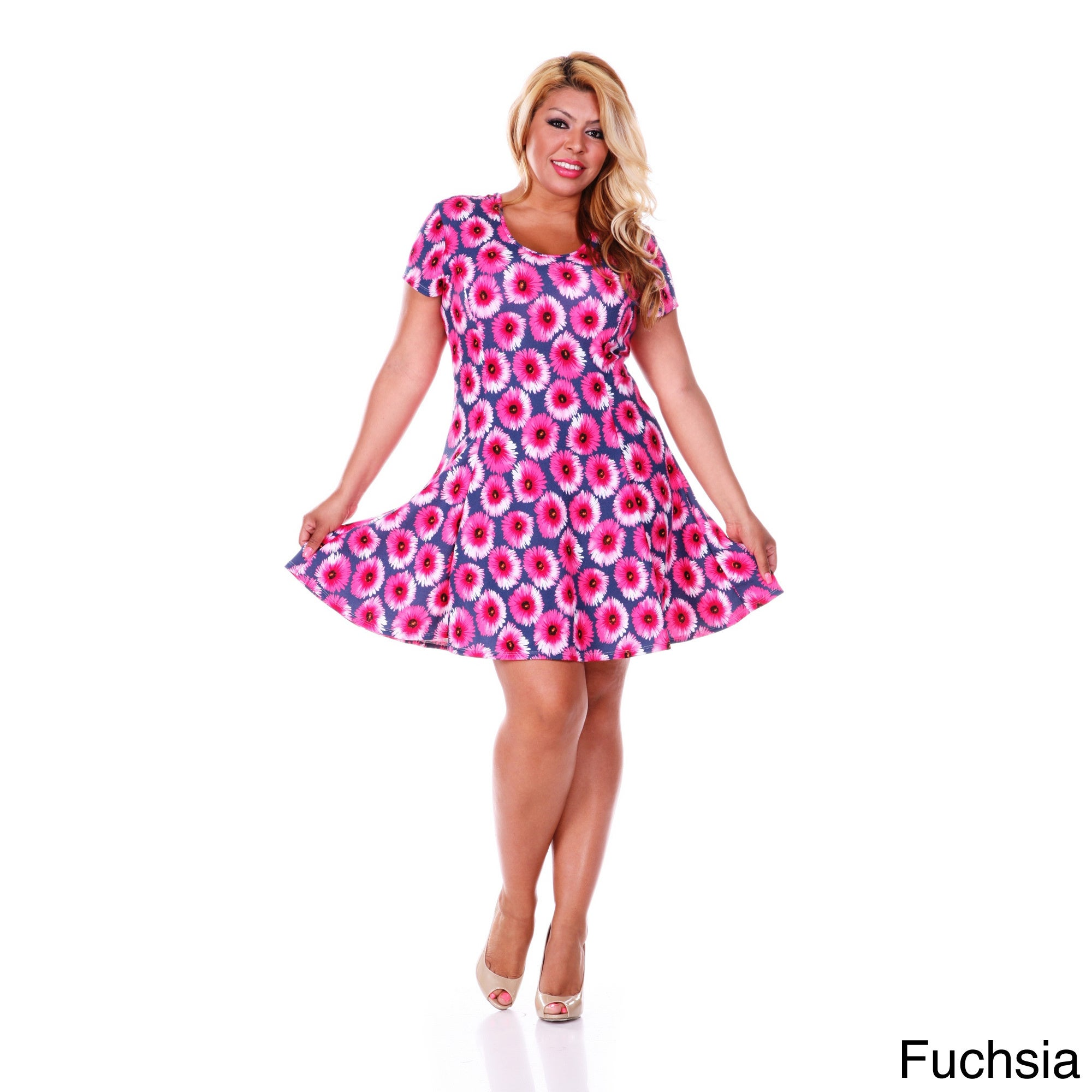 Shop White Mark Womens Plus Size Flower Fusion Fit And Flare